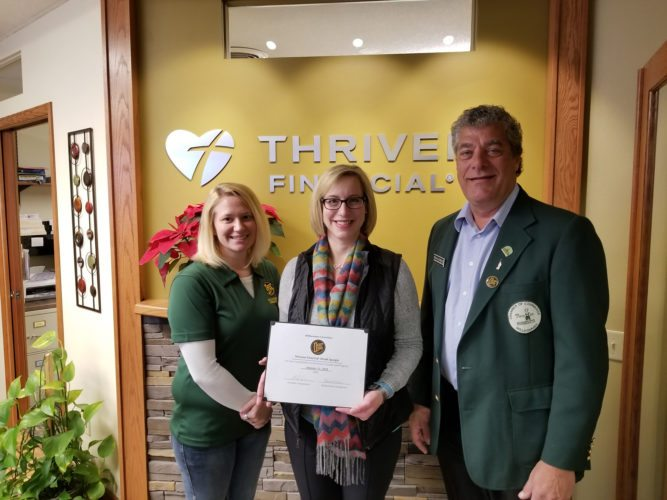 Submitted photo  In the photo are: Jess Gieseke, Maday Motors; Dinah Spurgin, Thrivent Financial; Brian Serbus, SouthPoint Financial Credit Union.