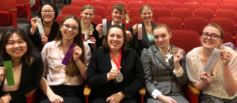 Submitted photo  Pictured, front row, left to right, Sara Guymon, Jade Ohotto, Megan Kelley, Celia Fluegge, and Hannah Larson. Back row, left to right, Lucy Sletta, Emma Maudal, Nick Schultz, and Bethany Janssen.