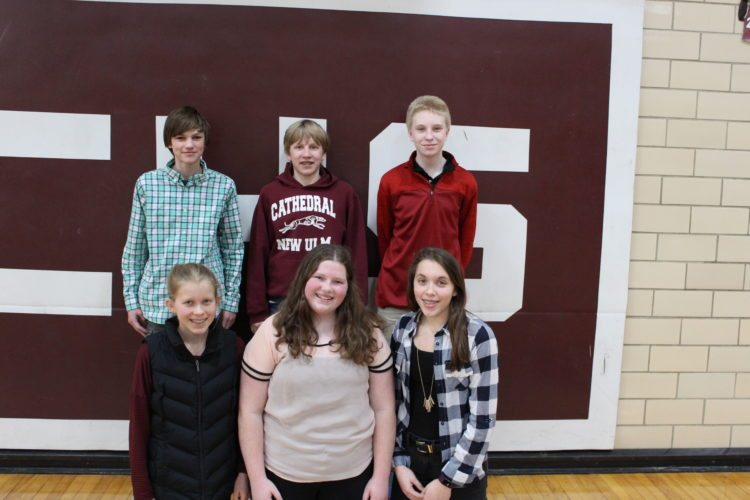 Submitted photo  Pictured, front row, left to right, Clare Fischer, Amber Kretsch, Emily Schommer; back row, left to right, Sam Blomberg, Owen Pyan, Brendon DeVries.