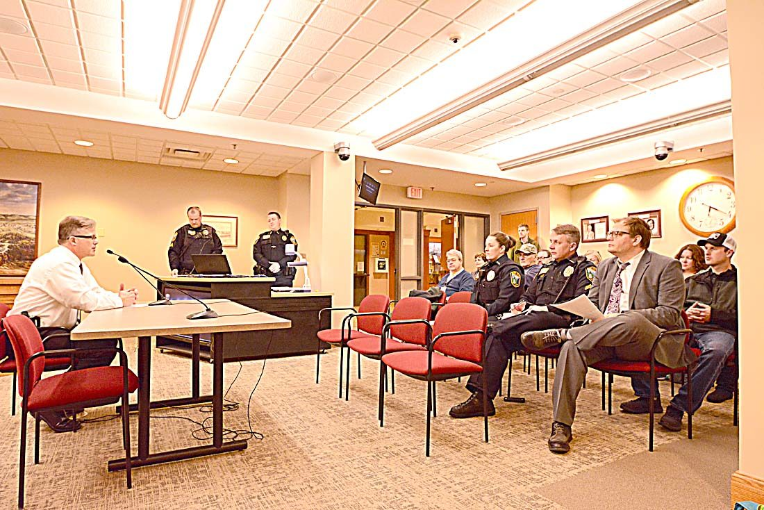 Staff Photo By Connor Cummiskey Commander Dave Borchert, Left, Addressed A  Crowd Of Interested Citizens Along With The New Ulm Police Department To  Get ...