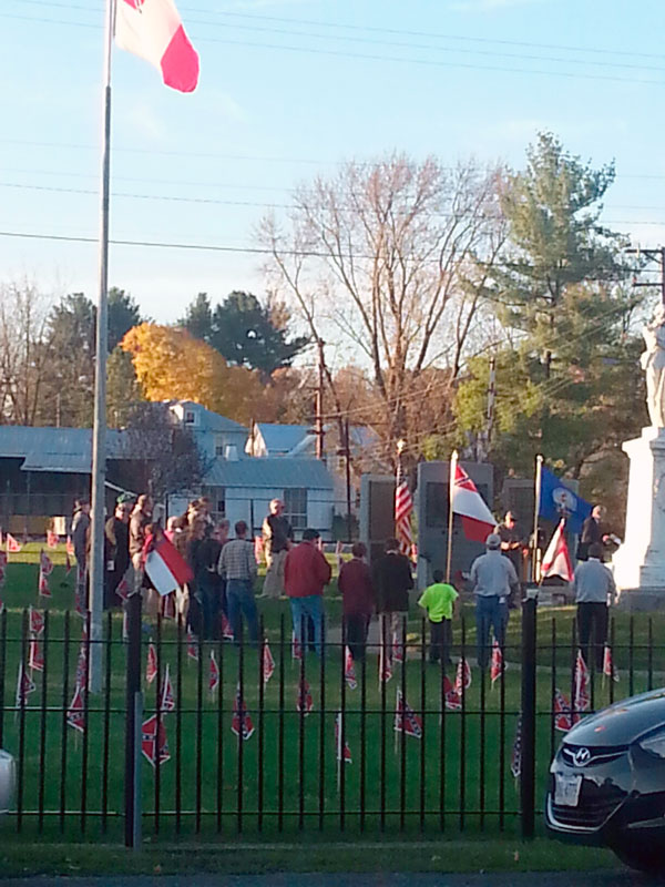 A small crowd gathers at the Confederate cemetery in Mount Jackson on Veterans Day.  Photo courtesy of Roger Barbee