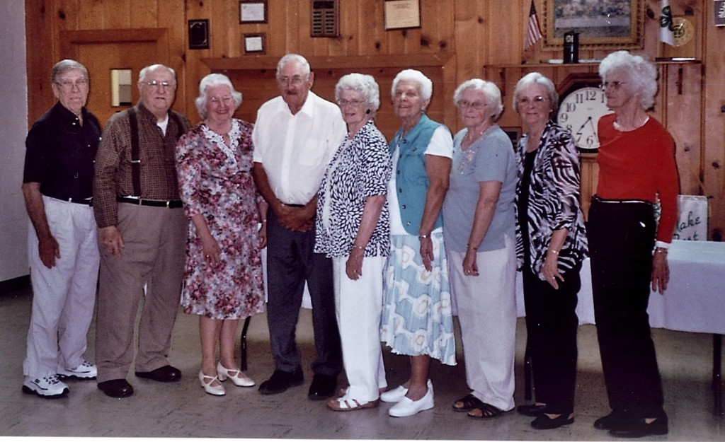 Toms Brook High School's class of 1954 held its 60th class reunion at Toms Brook United Methodist Church. Attending were, from left, Alvin Vann, Leslie Seal, Patsy Didawick Simmons, Jason Rhodes Jr., Marie Cook Rhodes, Sarah Bauserman Bagnell, Janelle Kibler Rosenberger, Beverly Bauserman Walker and Beverly McCoy Dirting.  Courtesy photo