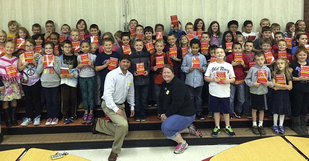 Front Royal Rotary Club members recently distributed dictionaries to Ressie Jeffries Elementary School students, shown here, as well as students from A.S Rhodes, E.W. Morrison, Hilda J. Barbour, Leslie Fox Keyser, Ressie Jefferies, Mt. Laurel Montessori, Riverfront Christian and Bethel Christian School. The club has given out 456 Webster's Student Dictionaries to local third-graders this year.  The program is part of the Dictionary Project, which has been supported by Rotary clubs across the globe.    Courtesy photo