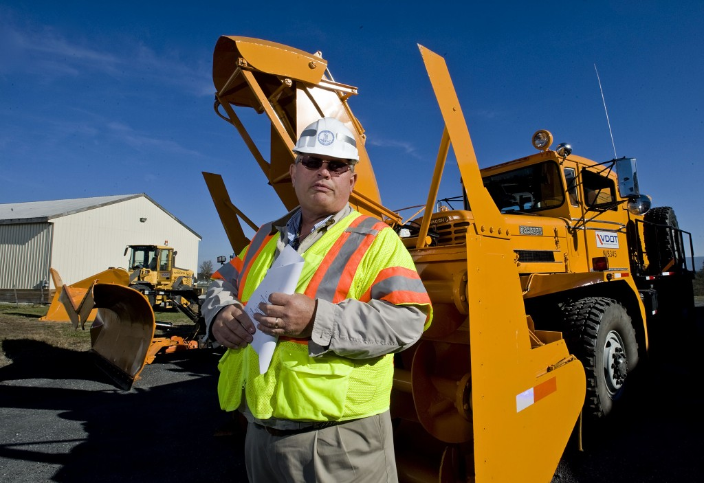 Clifton M. Balderson, Edinburg Residency administrator for VDOT, speaks during a news conference Monday about the department's  snow removal operations for upcoming winter months. Rich Cooley/Daily