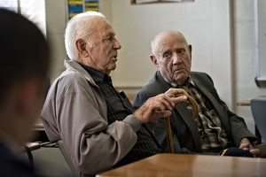 U.S. Army veteran Bill Funkhouser, 90, left, and Navy veteran Fred Hepner, 89, right, speak to Massanutten Military Academy cadets during Veterans Day on Tuesday. Rich Cooley/Daily