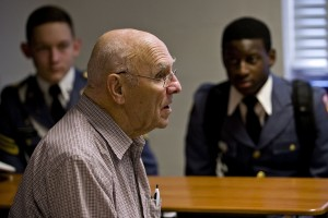 U.S. Army veteran Kenneth Frye, 92, of Woodstock speaks to Massanutten Military Academy cadets during classes on Veterans Day.  Rich Cooley/Daily