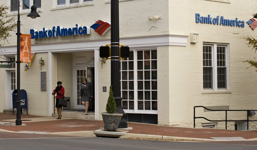 First Bank Corporation of Strasburg has announced plans to purchase six branches of Bank of America, including this one at Court and Main streets in Woodstock. Rich Cooley/Daily