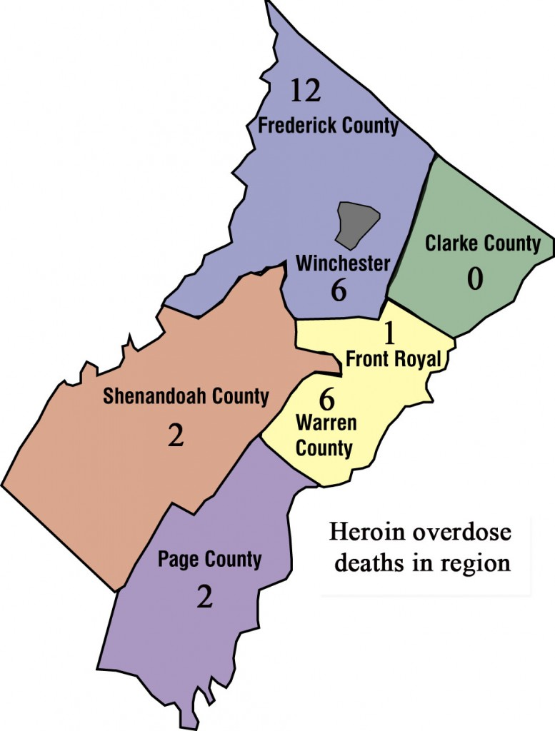 This graphic shows the number of heroin overdose deaths by locality since Jan. 1.