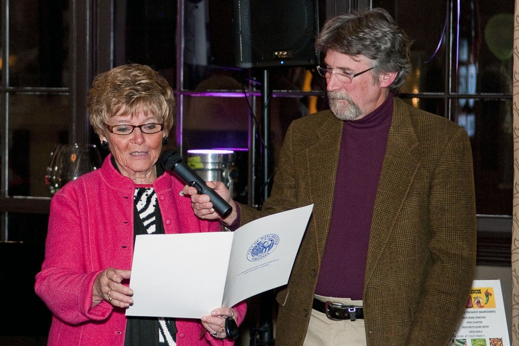 Winchester Mayor Elizabeth Minor proclaimed November as Epilepsy Awareness Month during an event at the George Washington Hotel.  Radio host Barry Lee, right, looks on.  Courtesy photo