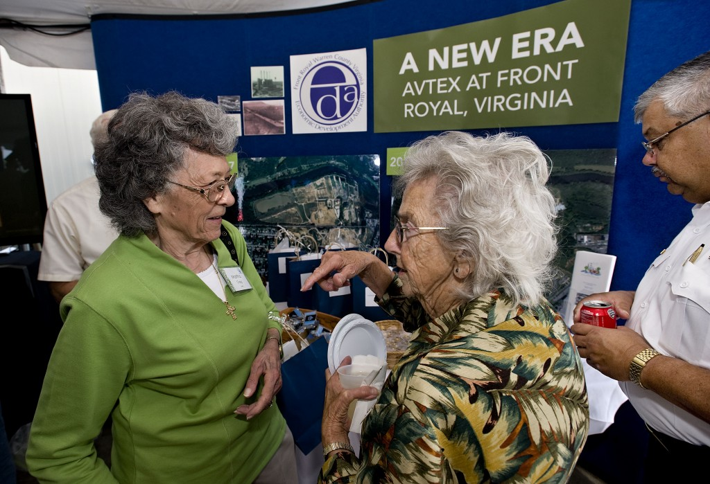 Martha Craig, 86, left,  of Front Royal, chats with her former co-worker Audrey Darr, 87, right, of  Middletown, during the Avtex Celebration held in September in Front Royal. Craig worked 44 years and Darr worked 26 years at the former Avtex Fibers plant.   Rich Cooley/Daily