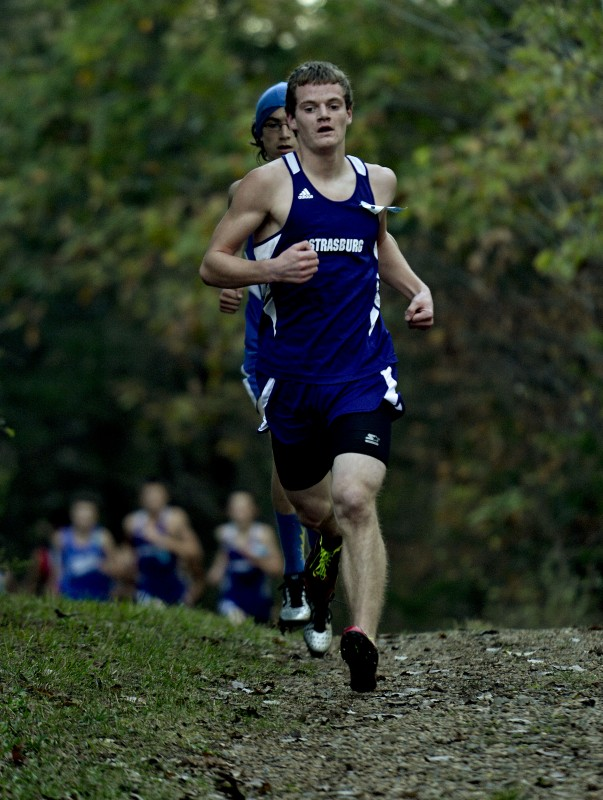 Strasburg's Max Middleton  runs during the Shenandoah County meet earlier this year. Middleton had a solid season, including an 11th-place finish in the Group 2A state meet.