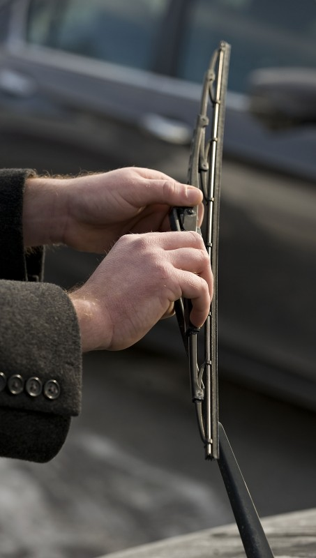 Wiper blades can take a beating in the winter weather. This is a standard blade, but a winter blade will yield better performance. Rich Cooley/Daily