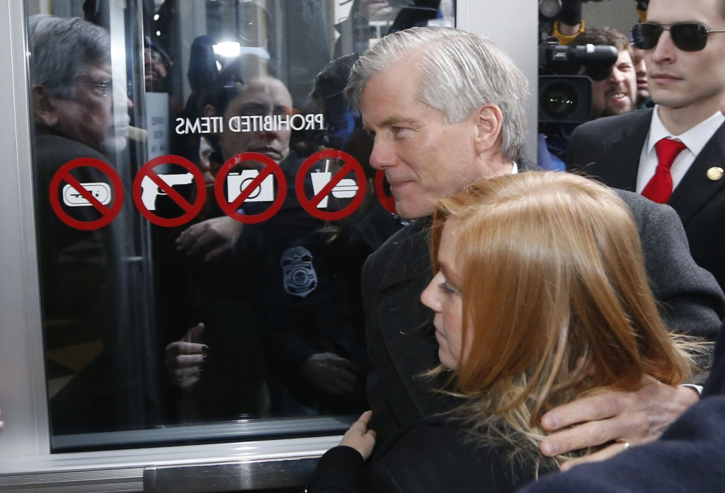 Former Gov. Bob McDonnell arrives at federal court with his daughter Cailin Young on Tuesday in Richmond. McDonnell, once a top Republican prospect for national office, was convicted of selling the influence of his office to the CEO of a dietary supplements company. AP Photo/Steve Helber