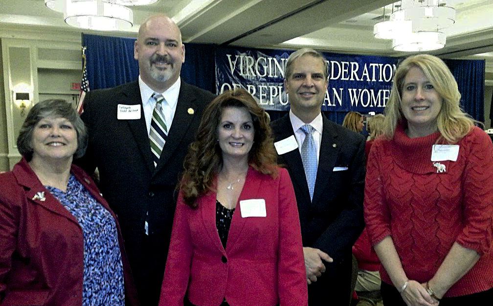 Members of Republican Women of Shenandoah County attended the annual Virginia Federation of Republican Women Legislative Day held at the downtown Richmond Marriott on Jan. 15.  Shown here, from left, are Sue Hughes, 6th District representative from the Virginia federation;  Toia Middleton, first vice president of the Shenandoah County organization, and  Laura Cadden, a member of the Shenandoah County organization. Also shown are Del.  Todd Gilbert, back left, and state Sen. Mark Obenshain.   Courtesy photo
