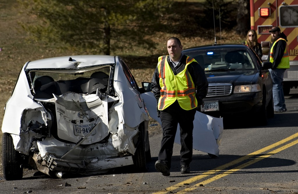 The driver of this vehicle escaped serious injury  Monday afternoon following this crash on Stoneburner Road west of Edinburg.  No details on the crash were available. Rich Cooley/Daily