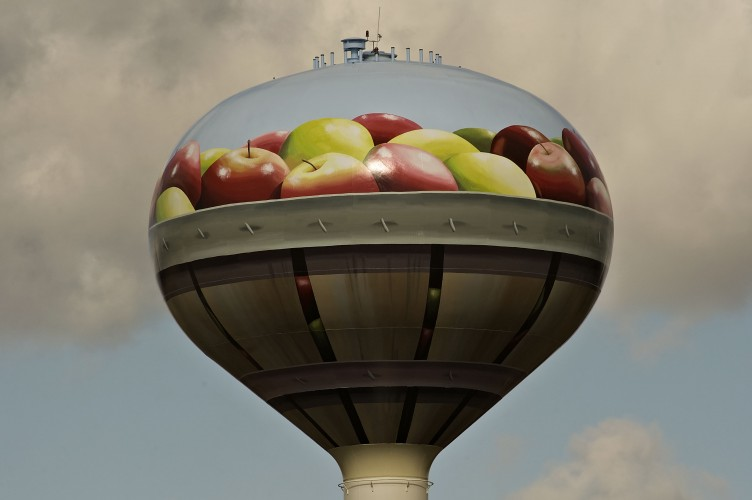 Mount Jackson just finished repainting the town's water tank, which is visible from Interstate 81.  Rich Cooley/Daily