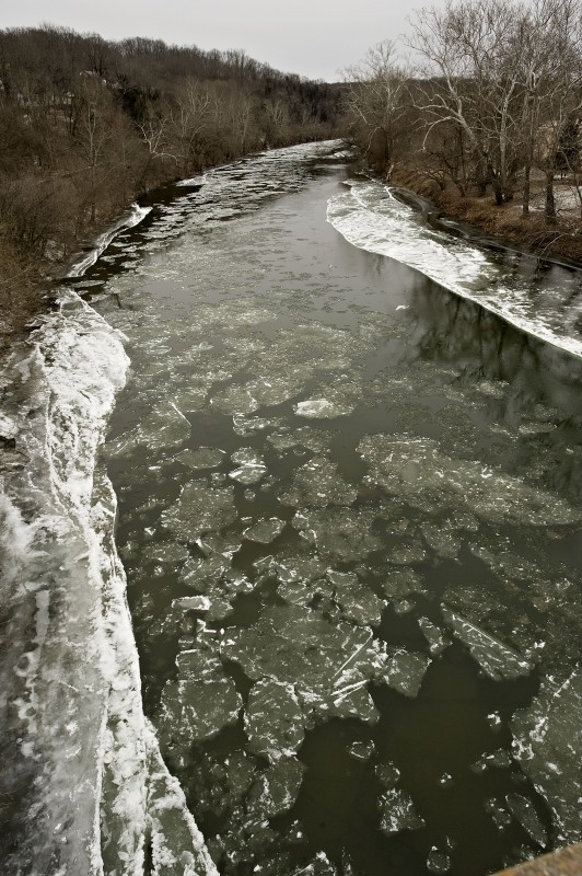 Ice floats along the South Fork of the Shenandoah River in a view from the Wilson J. Burke Senior Memorial Bridge off Rivermont Drive in Front Royal.  Rich Cooley/Daily