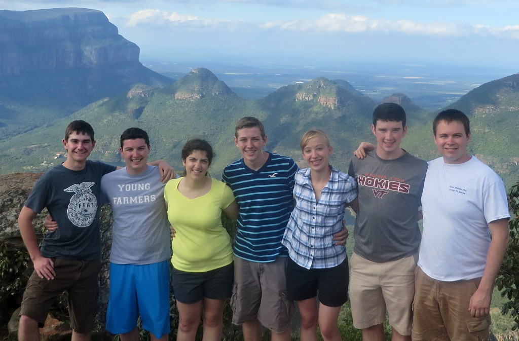 Virginia state FFA officers are shown on a recent visit to South Africa. From left are Garrett Coffey, Morgan Smith, Alice Cox, Ryan Williams, Brittany Bowman, Zach Jacobs and Daniel Black.  Photo courtesy Brittany Bowman