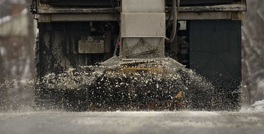 A Front Royal Town maintenance truck spreads salt over this portion of South Easterly Street during Thursday morning's snowfall. Front Royal's salt supply is depleting and the maintenance crews are asking for more. Rich Cooley/Daily