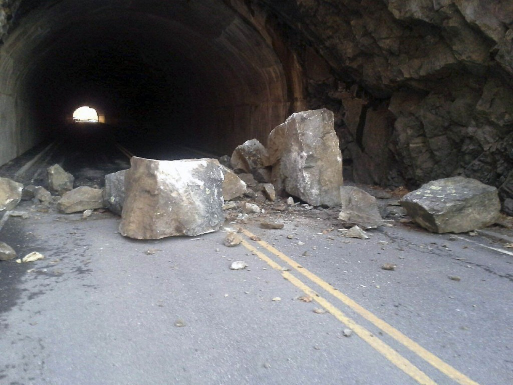 These boulders fell on Skyline Drive at Mary's Rock Tunnel last week. Park crews moved them, but another large boulder fell and the park temporarily closed the road for an inspection. The road is now open. Courtesy photo by Shenandoah National Park