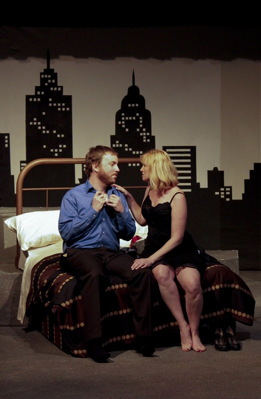"Bobby, left, played by Michael Reid, talks with April, played by Rebecca Dellinger, in the play ""Company.""  Photo courtesy of Valerie O'Keeffe"