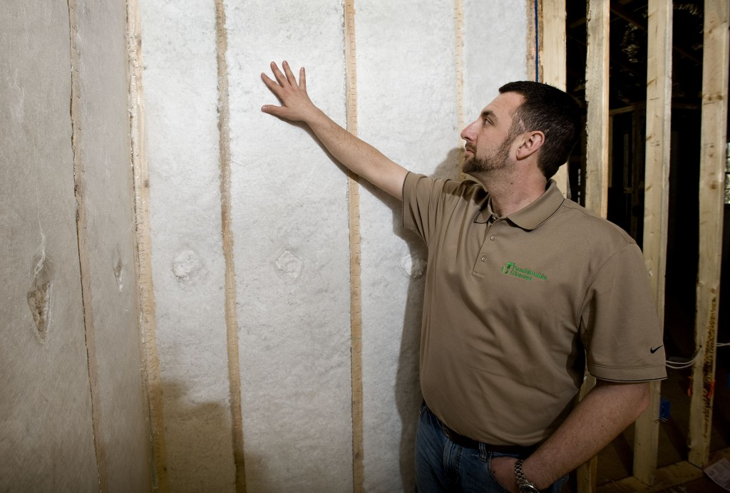 Clint Pierpoint, owner of Sustainable Homes LLC of Front Royal, points out energy efficient  insulation in one of the homes he has under construction on Apple Mountain in Linden.  Rich Cooley/Daily