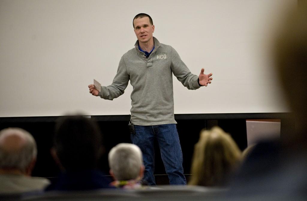 Justin Dennis, 36, of Winchester speaks about his life as a former heroin addict during  the Community Forum on Heroin at Stimpson Auditorium at Shenandoah University Tuesday night in Winchester. Rich Cooley/Daily