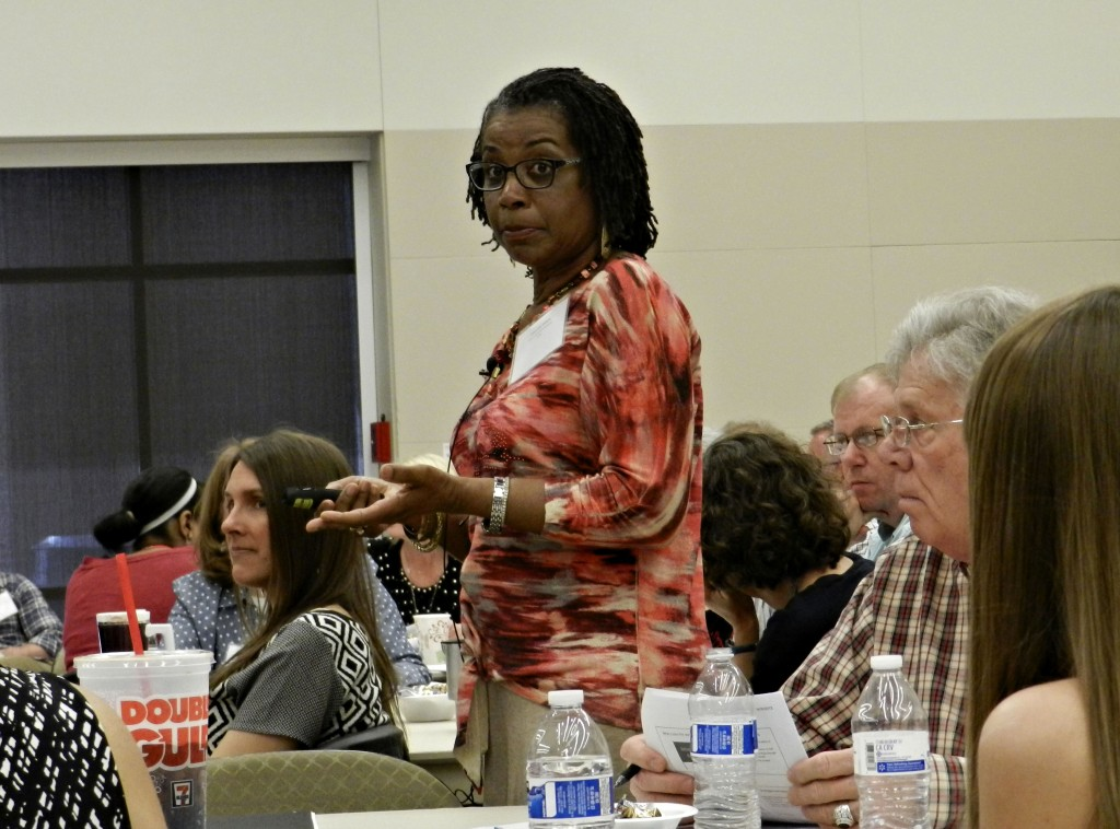 Vivian Stith-Williams, school social work specialist for the Virginia Department of Education's Office of Student Services, talks during the 3rd Annual Truancy Prevention Summit on Friday at Lord Fairfax Community College in Middletown. The all-day summit attracted 140 attendees, more than twice the number as last year.  Josette Keelor/Daily