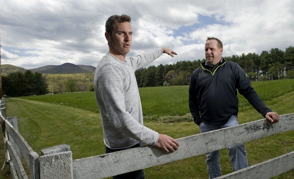 Ben McMahon, 32, left, of Front Royal, and Josh Peterson, 40, right, of Strasburg, have purchased this 40-acre property near Waterlick for use as an agriculture events center. Rich Cooley/Daily