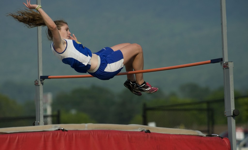 Central's Lexi Keller clears the bar during high jump competition on May 6 at the Shenandoah County meet in Quicksburg. Rich Cooley/Daily file