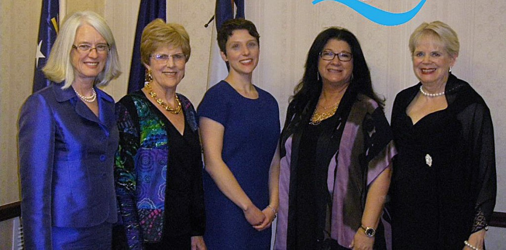 The city of Winchester hosted the first-ever tri-state meeting of the newly re-organized Region 5 of Quota International at The Hilton Garden Inn from April 24-26th. Pictured (left to right) at the banquet dinner are Dr. Karen Schultz, the distinguished speaker at the banquet; Kay Bennett, Region 5 Secretary/Treasurer; Heidi Hiller, President of the host club Quota International of Winchester; Cindy Hurd, Vice President of Quota International; and Ginny Bonometti, Region 5 Director.   Courtesy photo