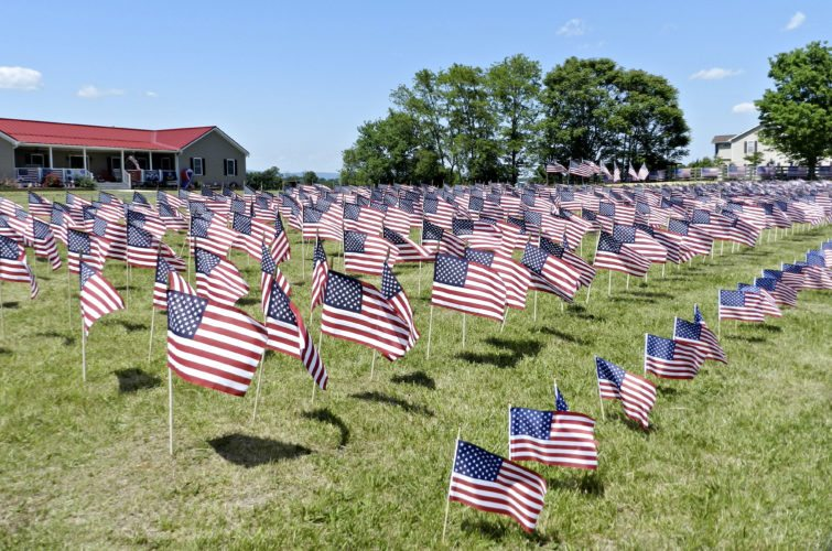 "A total of 1,375 American flags fly in the constant breeze at the Long residence in Strasburg. ""The breath that moves these flags are the dead soldiers that are laying in the ground in all our veteran's cemeteries.""   Rachel Mahoney/Daily"