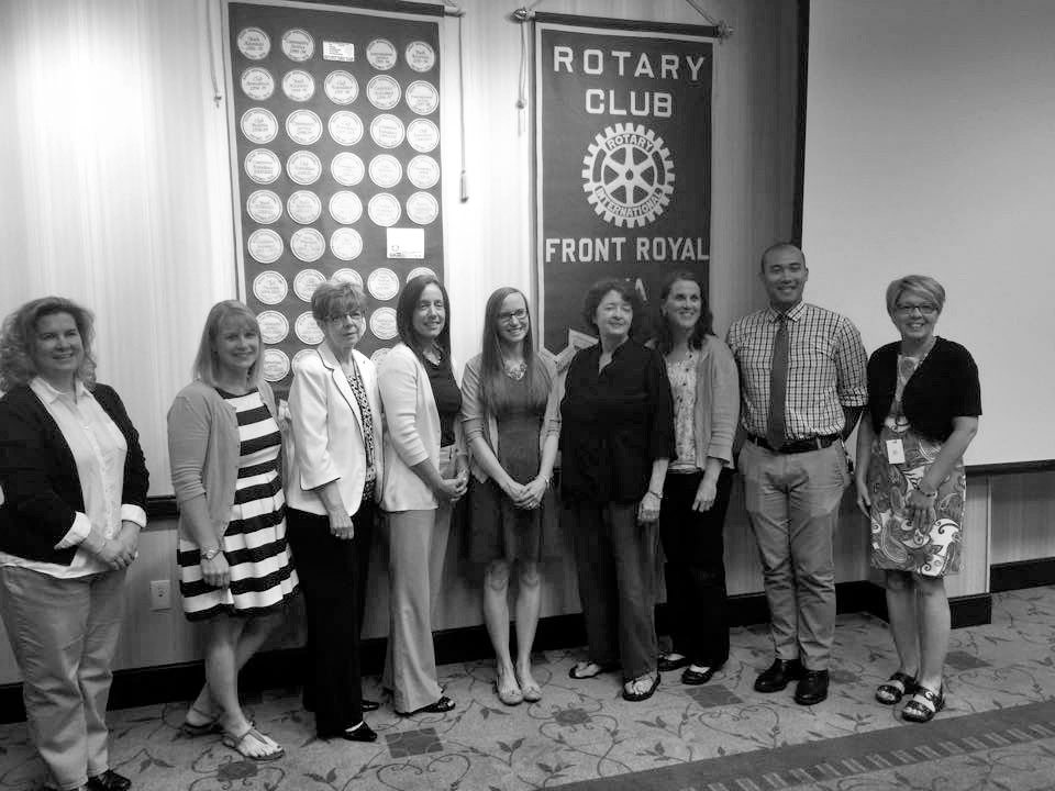 The Front Royal Rotary Club awarded nine Warren County teachers its Rotarian Award for Excellence in Educating Youth on May 15. Pictured (left to right) are Kim Pierce, Jill Alicie, Jennifer Hill, Tara McKechnie, Amanda Rutherford, Glenda Fox, Andrea Brade, Michael Hodge and Dasha Sealock.   Courtesy photo