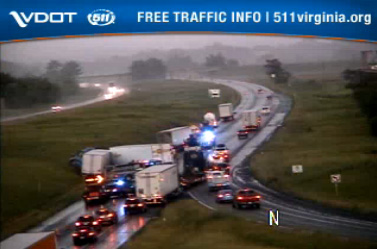 6:19 p.m.: The Virginia Department of Transportation reports that traffic is backed up about 2 miles on Interstate 81 at the 273.8 mile marker in Shenandoah County.  Northbound lanes and shoulders are closed.