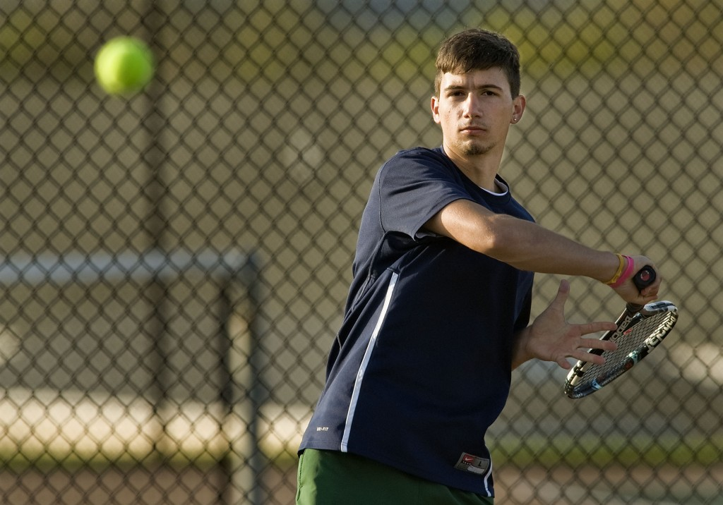 Skyline's Stefano Trentini hits a forehand during a match this season. Trentini advanced to the state semifinals this season. Rich Cooley/Daily