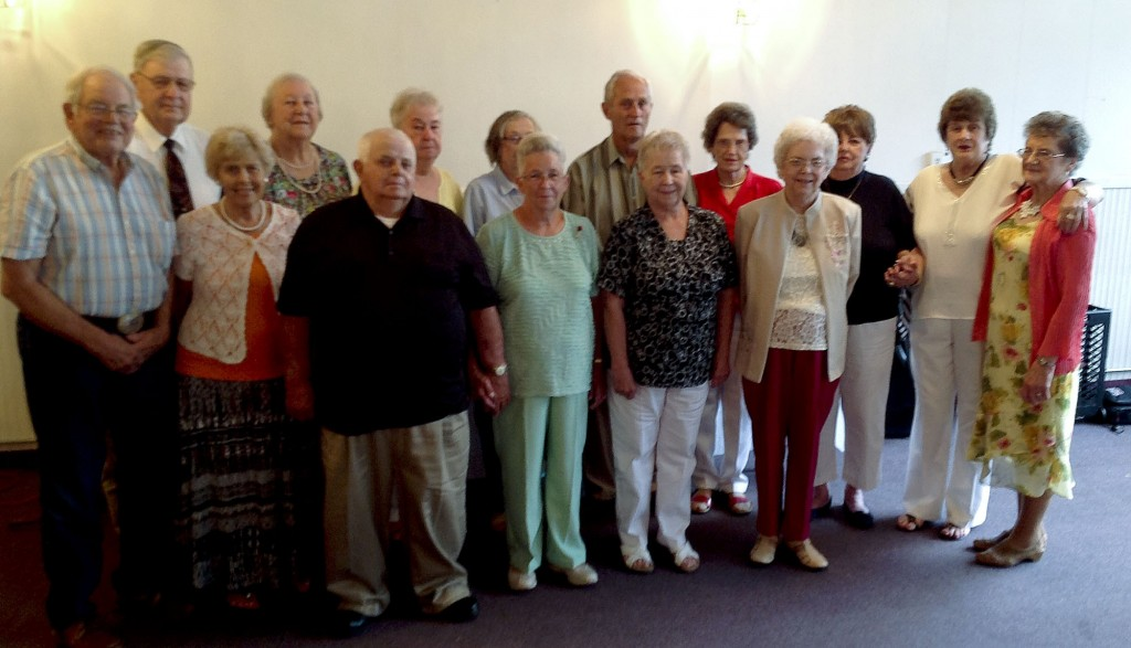 The Edinburg High School class of 1955 held a reunion May 30 at Creekside Plain & Fancy in Edinburg. Attending were: front row from left, Charles Eastep, Joan Hepner Bowers, Alvin George, Janet Eastep George, Jean Eastep Richman, Mildred Cooley Wakeman. Back row, from left: Zane Foltz, Patricia McClanahan Mathias, Reva Clem Buchanan, Mary Jo Guess Baker, Charles Lichliter, Mildred Hines Dellinger, Iva Cook Sheetz, Patsy Painter Richman and Shirley Rhinehart Golladay.