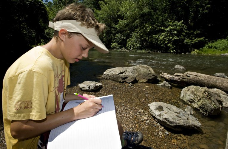 Ryan Artz, 10, of Woodstock,  records water quality data in his notebook as he sits on a rock under the Meems Bottom Bridge on Monday during the Friends of the North Fork of the Shenandoah River and Shenandoah County Parks and Recreation's River Rangers program. Rich Cooley/Daily