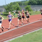 Strasburg's Rachel Tischler, second from left, runs in the 1,600-meter run Saturday at the Group 2A state meet at Radford University. Tischler finished third in the event, and also placed second in the 3,200. Tommy Keeler Jr./Daily