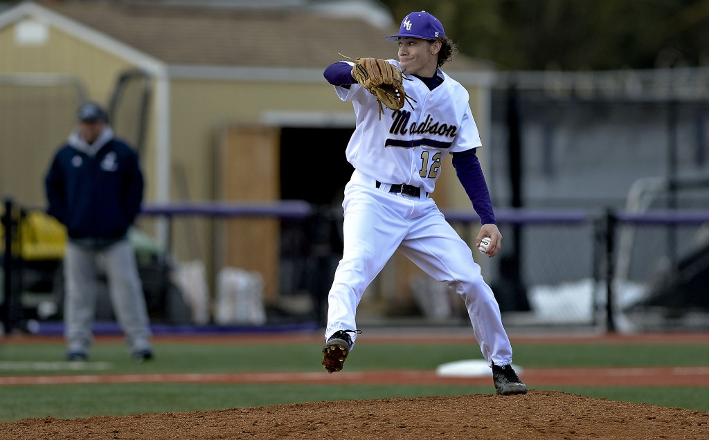 JMU's Colton Harlow pitches against Longwood earlier this spring. The Stonewall Jackson graduate will be playing for the Martha Vineyard Sharks for the next month.  Photo courtesy JMU Athletics Communications