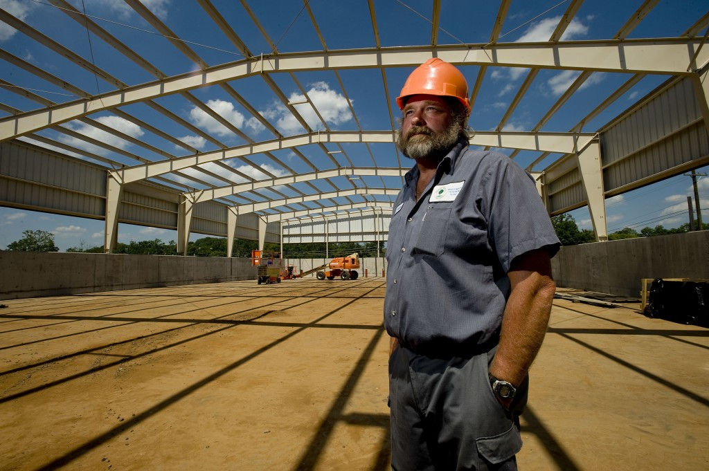 Tim Fristoe, wastewater manager for the Town of Front Royal, stands inside the dewatered sludge cake facility that is part of the $40 million upgrade at the plant. Construction is less  than 15 percent complete to date and is scheduled to be completed in fall 2017.  Rich Cooley/Daily