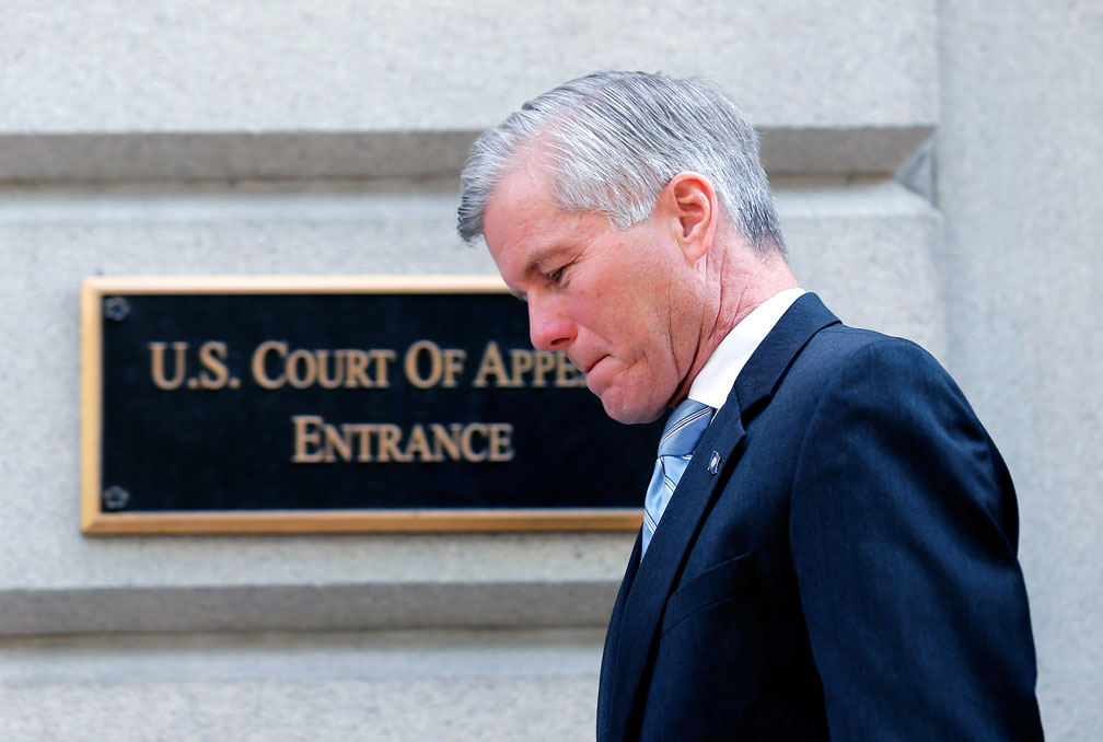 Former Gov. Bob McDonnell leaves the U.S. Court of Appeals in downtown Richmond on May 12.  A federal appeals panel on Friday upheld his public corruption convictions. AP