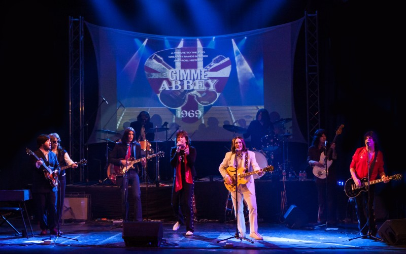 Gimme Abbey members perform their  collaborative 1969 show at the Wichita Theatre in Wichita Falls, Texas, in March 2014. Photo courtesy of Shenandoah Valley Music Festival