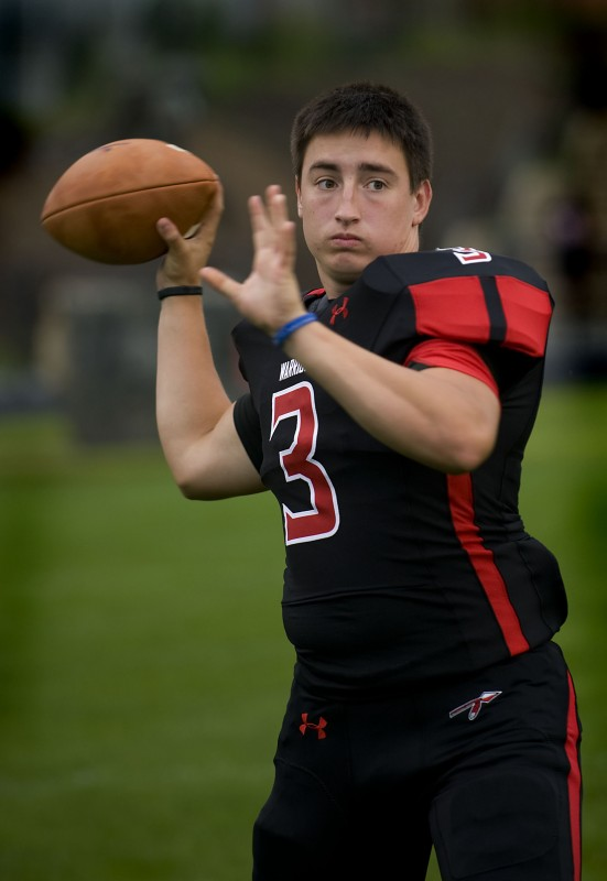 Sherando quarterback Patrick Minteer threw for over 1,700 yards last season. The senior is eager to lead the Warriors to another strong year.  Rich Cooley/Daily