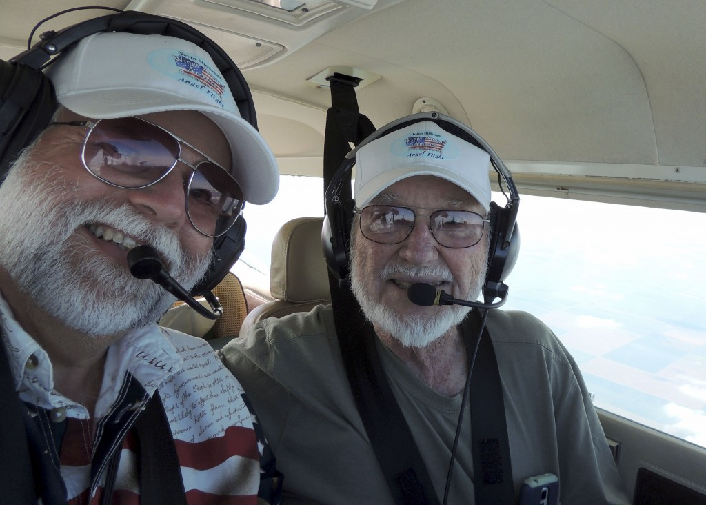 Pilots Nevin Showman and John Billings fly over Texas  on the second day of their Wings Around America journey out of Luray Caverns Airport to raise awareness of charitable flying.  Courtesy Nevin Showman
