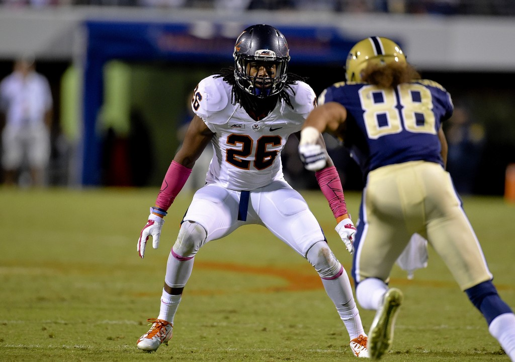 Virginia's Maurice Canady looks to make a play in a game last year. Canady and the Cavaliers play at UCLA to start the season. Courtesy photo/Virginia Athletics Communications