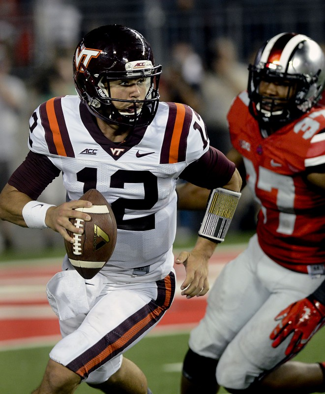 Virginia Tech quarterback Michael Brewer looks down the field during a game last season. The Hokies host Ohio State on Sept. 7. Courtesy photo/Virginia Tech Athletics Communications