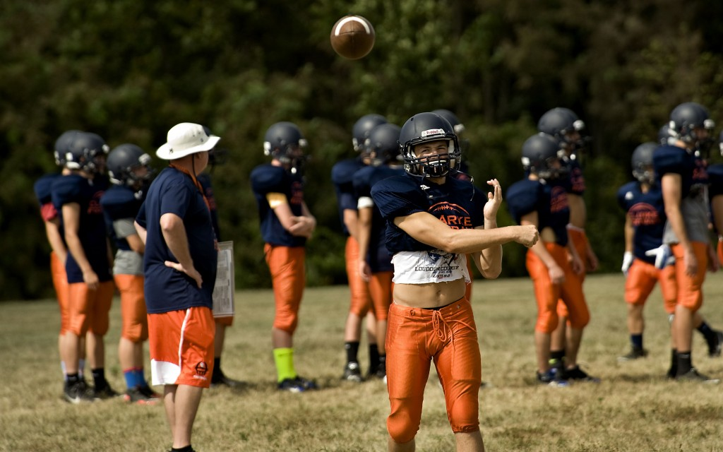 Clarke County quarterback Jordan Turner rifles a pass during a recent practice. Rich Cooley/Daily