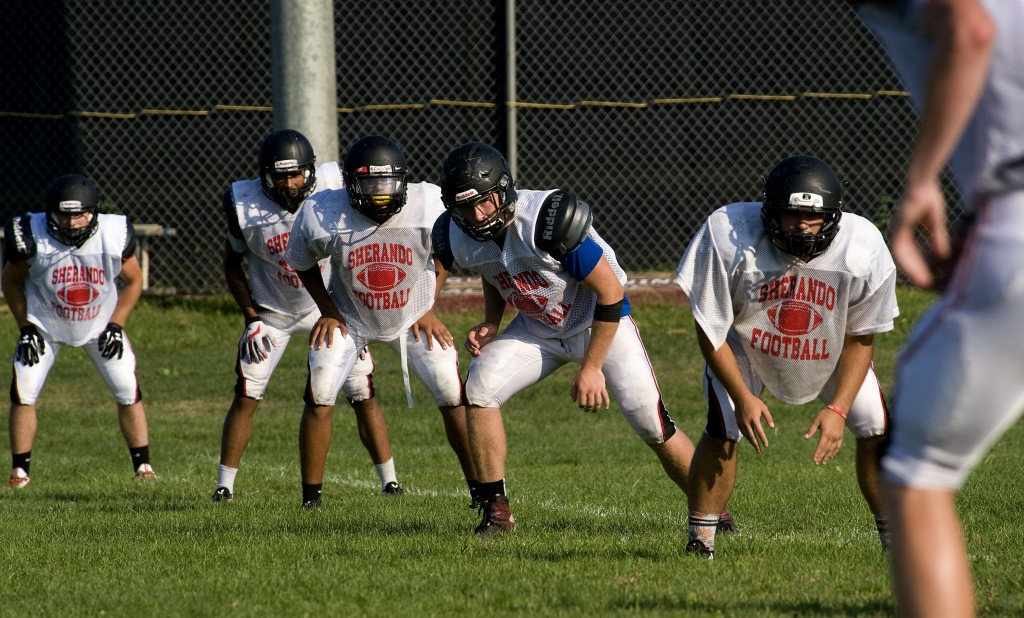 Sherando's kick off team prepares for the kick during a recent practice. Rich Cooley/Daily