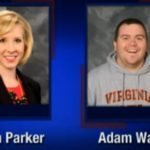 This is a screenshot from WDBJ-TV, in Roanoke, Va., that shows reporter Alison Parker and photographer Adam Ward. Parker and Ward were killed, Wednesday when a gunman opened fire during a live on-air interview in Moneta, Va. (Courtesy of WDBJ-TV7 via AP)