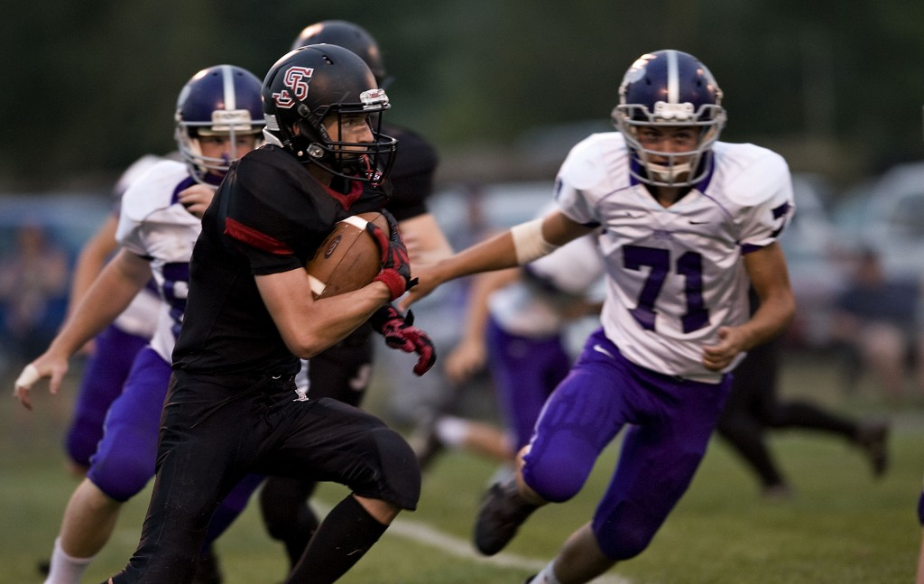 Stonewall's Michael Knauff heads to the sideline to field a kickoff during first half action last Friday night against Strasburg at Quicksburg.  Stonewall  travels to Central High  tonight. Rich Cooley/Daily